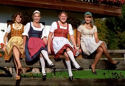 Seated women wearing dirndls from the 1970s. (Photograph by Florian Schott)