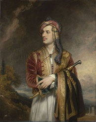 Lord Byron dressed in the traditional Albanian costume traditionally consisting of the Fustanella and a Dollama decorated with filigree, 1813.