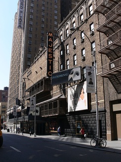 Lansbury first appeared in musical theatre in 1964 at the Majestic Theatre on Broadway (pictured in 2007).