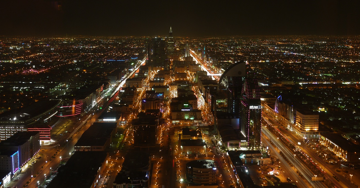 Panoramic night view of Riyadh from Kingdom Centre