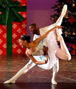 Two classical ballet dancers perform a sequence of The Nutcracker, one of the best known works of classical dance