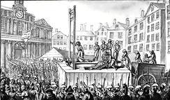 Nine émigrés are executed by guillotine, 1793
