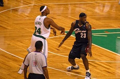 Former Celtics captain Paul Pierce being defended by LeBron James