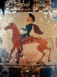 A Pazyryk horseman in a felt painting from a burial around 300 BC. The Pazyryks appear to be closely related to the Scythians.[112]