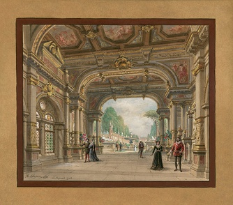 Set design by Philippe Chaperon for Act 1 of the 1897 production at the Palais Garnier