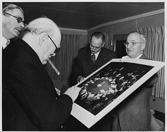 Churchill with Anthony Eden, Dean Acheson and Harry Truman, 5 January 1952.