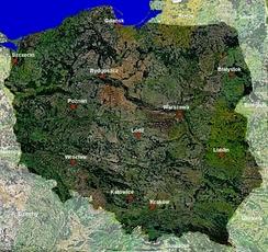 Территория Польши. Снимок со спутника