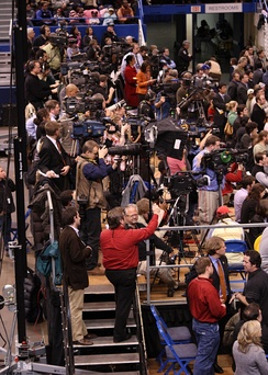 Press photographers and film crews at Barack Obama rally, February 4, 2008
