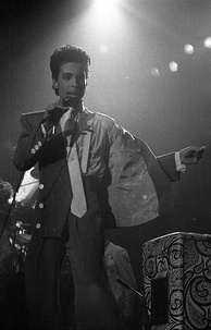 Prince performing in Brussels during the Hit N Run Tour in 1986