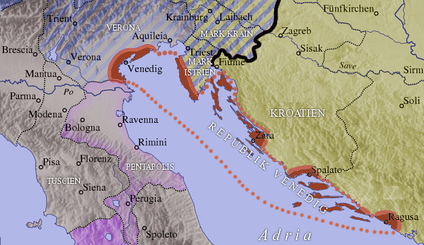 The Istrian march (Mark Istrien) of the Holy Roman Empire about 1000, alongside the marches of Verona and Carniola (Krain), Croatia and the Republic of Venice