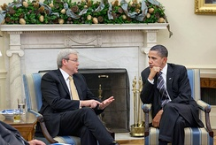 Rudd (left) and US President Barack Obama (right) meet in Washington DC.
