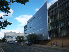 SHU's Owen Building (left) and Stoddart Building (right), part of the City Campus on Arundel Gate