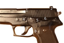 Detail of the controls and parts: 1. Ejection port/locking lug, 2. Rear sights, 3. Hammer, 4. Takedown lever, 5. Decocker, 6. Slide stop, 7. Trigger, 8. Magazine release.