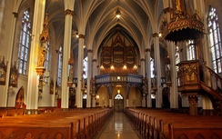 St. Joseph Catholic Church (1873) is a notable example of Detroit's ecclesiastical architecture (interior)