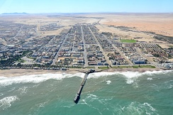 Aerial view of a jetty at Swakopmund, Namibia (2017)