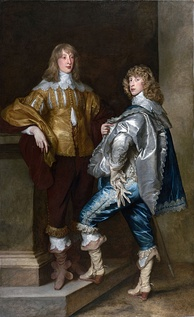 Lord John Stuart and his Brother, Lord Bernard Stuart, c. 1638, by Sir Anthony van Dyck.  Both Lord John Stewart and Lord Bernard Stewart died in battle in the English Civil War, fighting on the Royalist side.