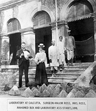 Ronald Ross, left, at Cunningham's laboratory of Presidency Hospital in Calcutta, where the transmission of malaria by mosquitoes was discovered, winning Ross the second Nobel Prize for Physiology or Medicine in 1902.