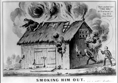 1848 cartoon satirizing the Barnburners / Free Soil Party, referencing the Wilmot Proviso