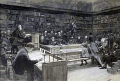 A book sale in progress at Messrs Sotheby, Wilkinson & Hodge of Wellington Street, 1888