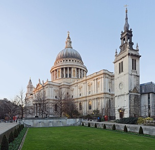 St Paul's from the south-east, with the tower of the destroyed Church of St Augustine, Watling Street to the right, now part of St Paul's Cathedral School.
