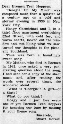 Stuart Gorrell's letter to his home town Teen Hop patrons, published in the Bremen Enquirer, 3 Aug 1961