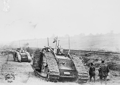 301st Tank Battalion going into action with Mark Vs at Saint-Souplet, France in October 1918 (Selle battle)