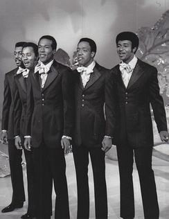 The Temptations perform on The Ed Sullivan Show in September 1969. Left to right: Otis Williams, Melvin Franklin, Eddie Kendricks, Paul Williams, and Dennis Edwards.
