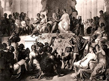 The weddings at Susa; Alexander to Stateira (right), and Hephaestion to Drypetis (left). Late 19th-century engraving.