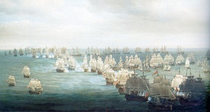 The Battle of Trafalgar, depicted here in its opening phase
