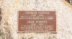 Truman Capote and Jack Dunphy stone at Crooked Pond in the Long Pond Greenbelt in Southampton, New York.