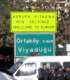 Road sign at the European end of the Bosphorus Bridge in Istanbul. (Photo taken during the 28th Istanbul Marathon in 2006)