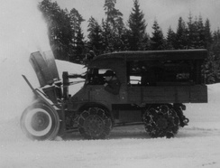 An Unimog 401 with snow blower, c. 1955