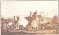 Ras Al Khaimah under attack by the British Expeditionary force of 1819 in December 1819