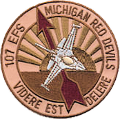 Emblem of the 107th Expeditionary Fighter Squadron, Michigan Air National Guard. Used at Balad Air Base, Iraq, during Operation Iraqi Freedom