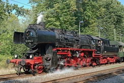 A steam locomotive from East Germany. This class of engine was built in 1942–1950 and operated until 1988.