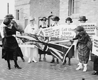 Protesters tearing up a Union flag in 1920