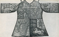 The tabard of Blanc Coursier Herald John Anstis created in 1727.