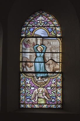 Martyrdom of Saint Blandina, one of the martyrs of Lyons, stained glass window by Alexandre Mauvernay