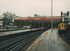 Charing Cross before it was built over with offices with the Southern Railway (SR) initials retained.