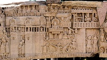 Conjectural reconstruction of the main gate of Kusinagara circa 500 BCE adapted from a relief at Sanchi.