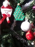 Hand-crafted Xmas baubles and ornaments in crochet