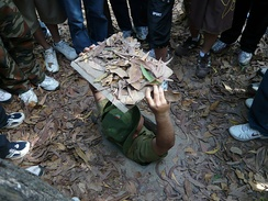 A tour guide demonstrates a secret entrance at the Củ Chi tunnels.