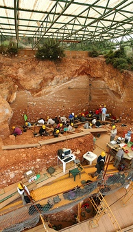 Excavations at the site of Gran Dolina, in the Atapuerca Mountains, Spain, 2008