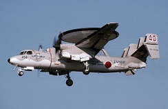 An E-2C Hawkeye landing at Misawa Air Base