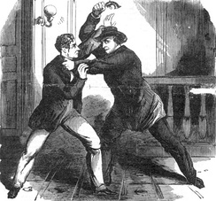 An artist's depiction of Lewis Powell attacking William Seward's son,  Frederick W. Seward