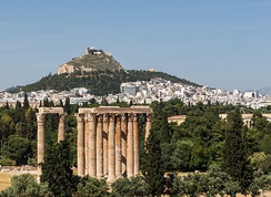 "From the Temple of Olympian Zeus to the Lycabettus hill, as seen from the roof terrace of the ""Royal Olympic"" hotel, Athens, Greece."