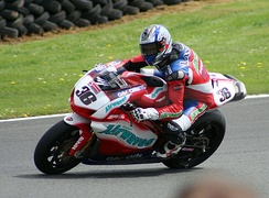 Gregorio Lavilla riding on the Airwaves Ducati at Oulton Park British Superbikes in May 2005.
