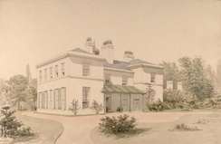 "An 1835 painting of ""Heathfield"", Watt's house in Handsworth, by Allen Edward Everitt"