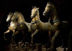 The four bronze horses that used to be in the Hippodrome of Constantinople, today in Venice