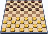 Starting position in international draughts, which is played on a 10×10 board